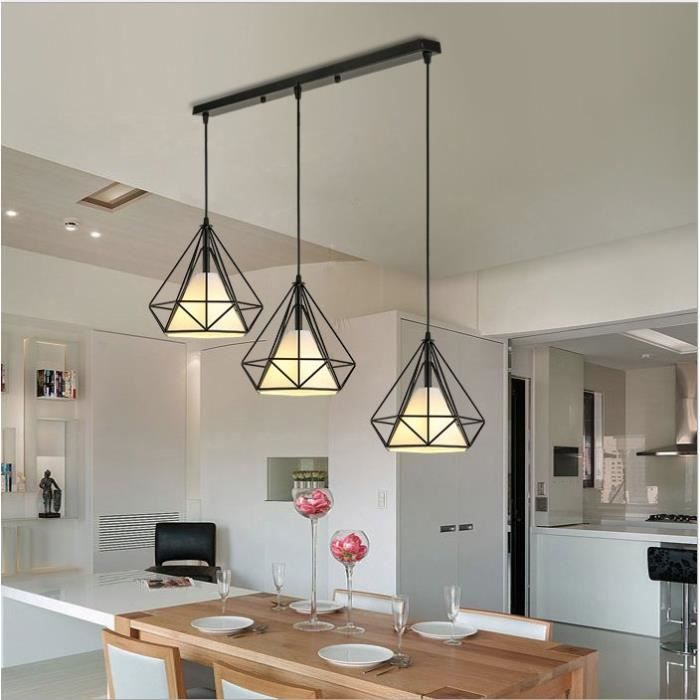 Lustre Suspension Cage Forme Diamant Ajustable-Luminaire