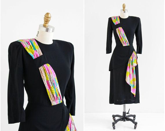 vintage 1940s dress / 40s dress / Black Dress with Colorful Novelty ...