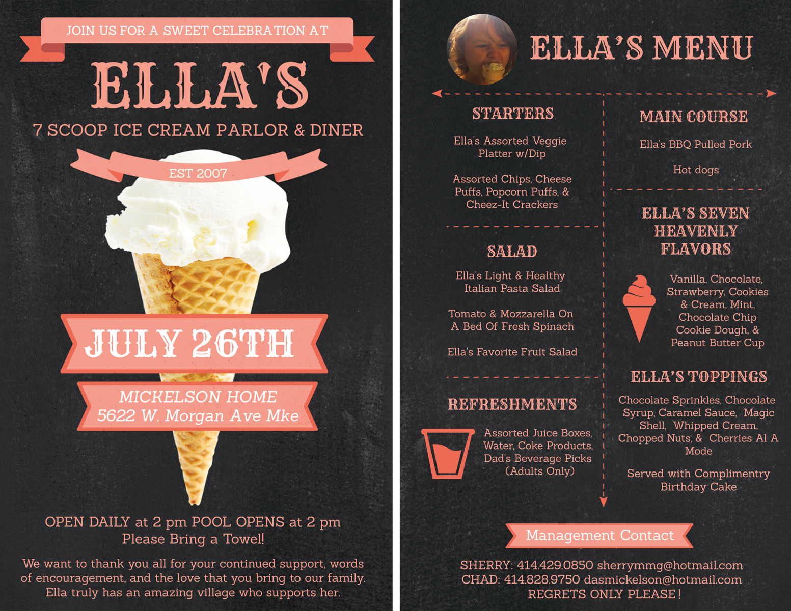 Nicole Esche Graphic Design Milwaukee, Birthday Invitation, Ice Cream Party, Layout, Event, Print