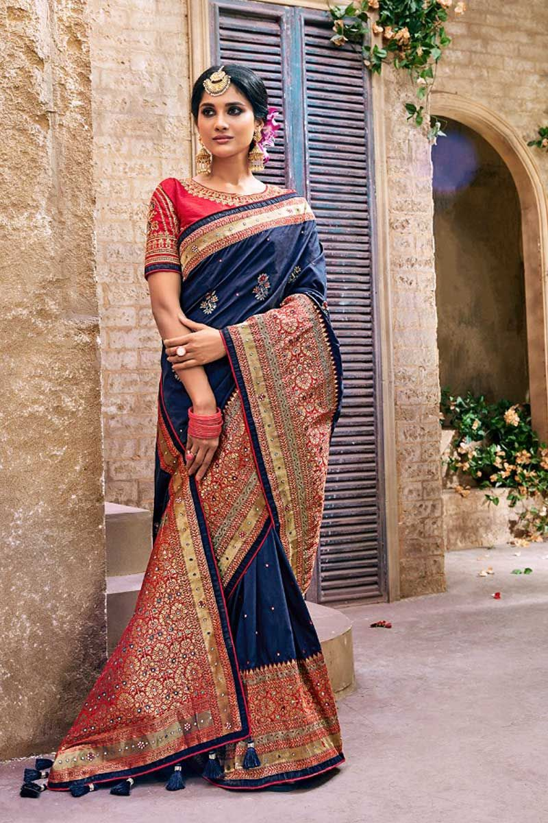 Blue Designer Reception Wear Silk Saree With Tassels On Pallu