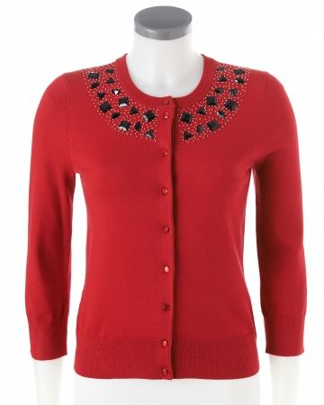 Beads are guaranteed glam, #red cardigan #SteinMart