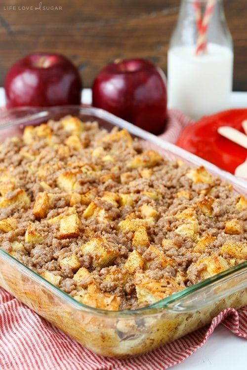 Photo of Overnight Cinnamon Apple Baked French Toast Casserole #frenchtoastcasserole This…