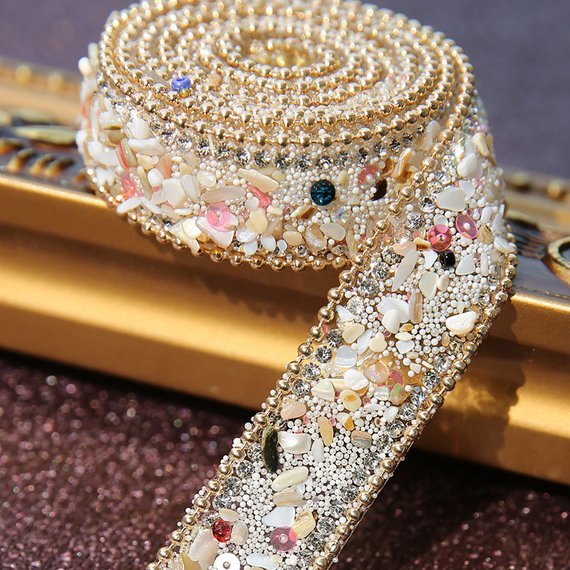 50CM Bling Crystal Ribbon Wedding Dress Shoes Bags Decor DIY Crafts Sewing Trims