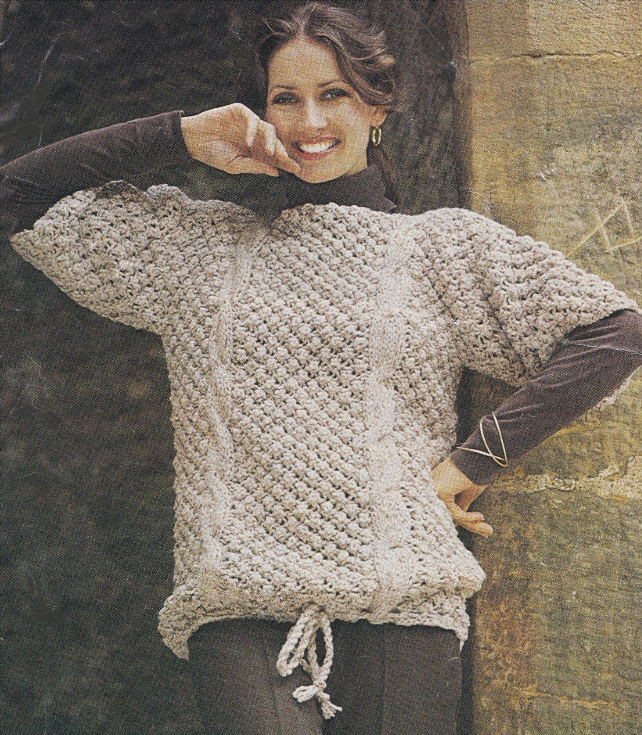 e8e41d2b94b8 Womens Cable and Bramble Stitch Sweater Knitting Pattern PDF Ladies ...