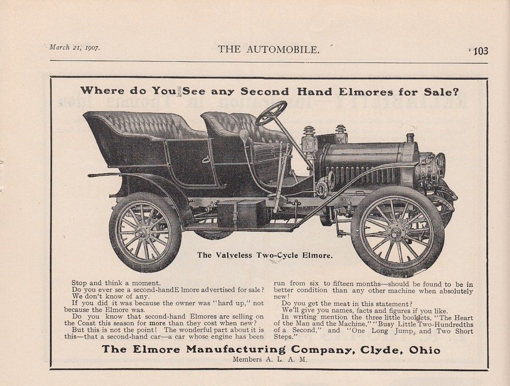 1907 Elmore Manufacturing Co Clyde Oh Ad Valveless Two Cycle ...