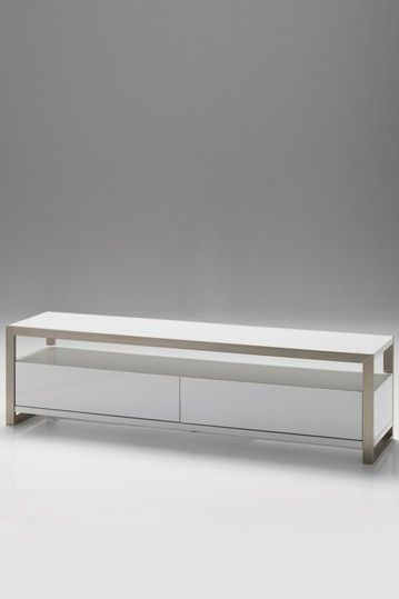 """Mobital TV stand, white lacquer, narrow at 18"""" deep for flat screen TV only 18"""" high, 63W"""