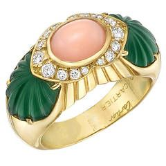 Cartier Pink Coral Chrysoprase Diamond Gold Cocktail Ring