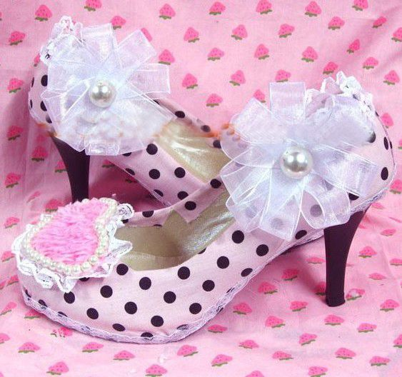 White Lace Flowers Plush High Heel Girl Shoes