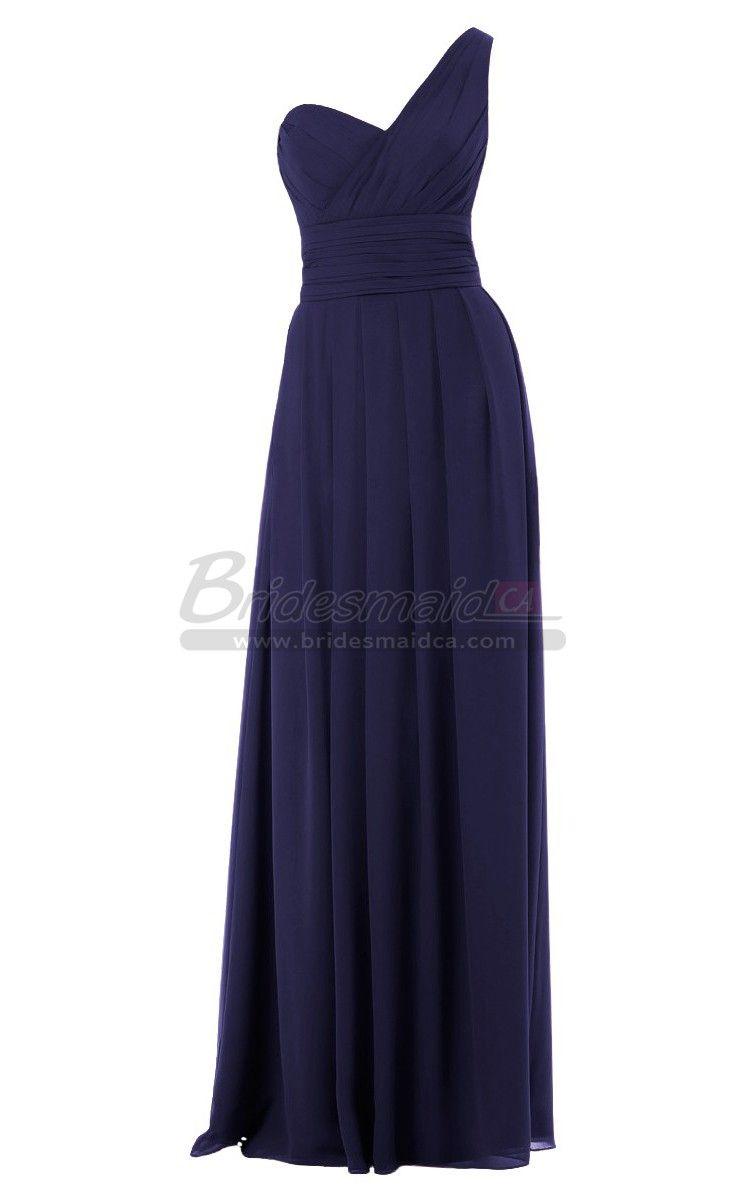 Bridesmaiddresses one shoulder long blue chiffon empire waist