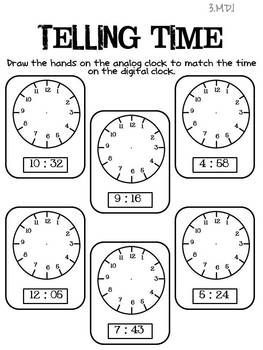 3rd Grade Common Core Math Assessments Telling time