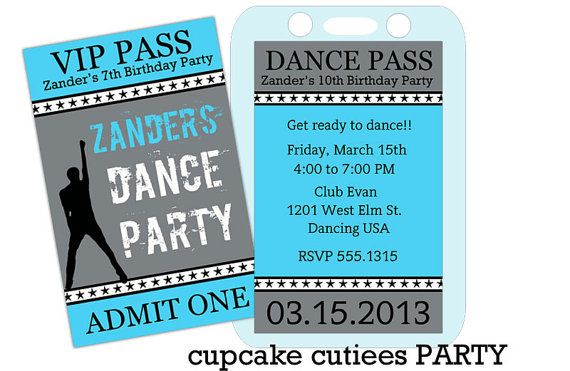 Dance Party VIP BOYS lanyard Badge Custom Invites Digital – Dance Party Invites