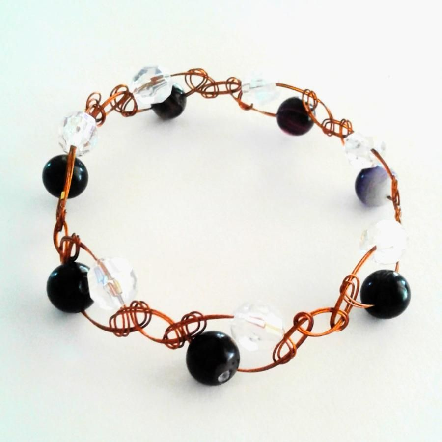 Bronze Purple Agate and Sparkly Beads Handcrafted Wirewoven Bracelet  #uniquedesign #uniquejewellery #giftideas #handcraftedjewellery #giftsforher #wirejewellery #handcrafted