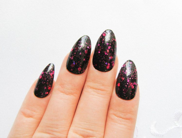 Pink Galaxy Stiletto Nails Pretend Acrylic Press On
