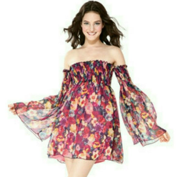 Hot!Hot!Betsy Johnson Dress Off shoulder sheer dress with underdress- Size reads large but I'm an XS to S so this dress will fit many body types Betsey Johnson Dresses