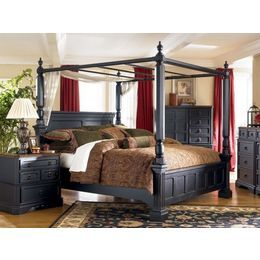 Ashley Furniture Rowley Creek King Poster Bed W/ Canopy By Ashley   Black