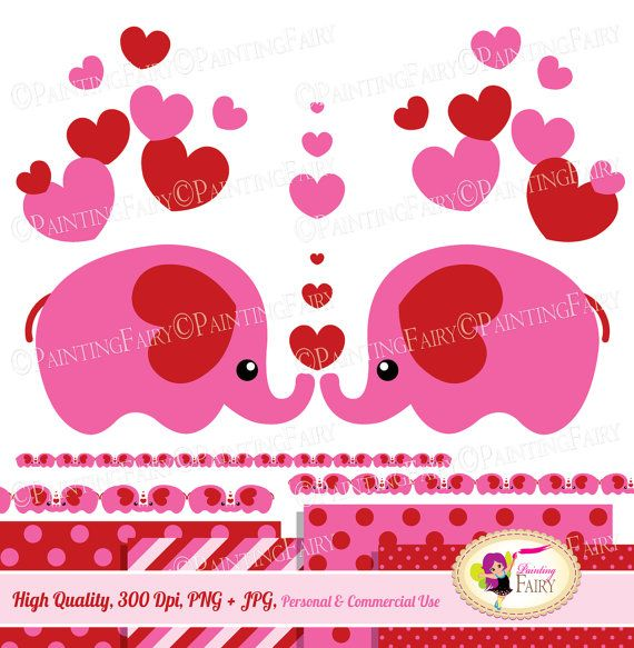 Valentine's Day Cute animals Clip Art Set sweet pink red hearts borders lovely Cliparts love elements polka dots Digital Papers pf00004-4a digital item, instant download