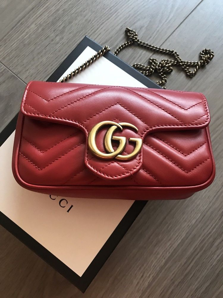 d4b447cf13b3 Authentic Gucci GG Marmont Matelassé Leather Super Mini Bag, Red #purses  #fashion
