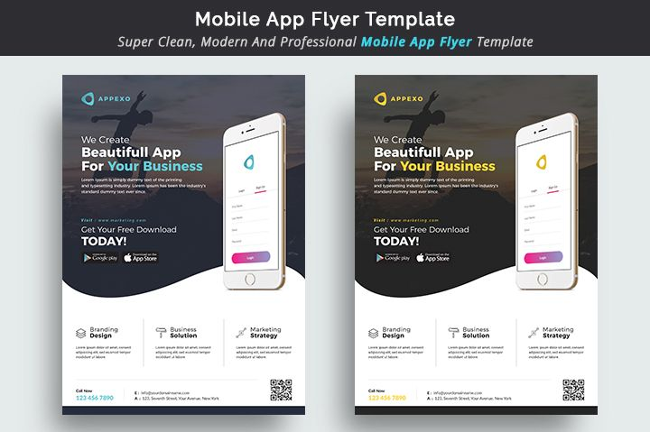 mobile app flyer template classic design portfolio print