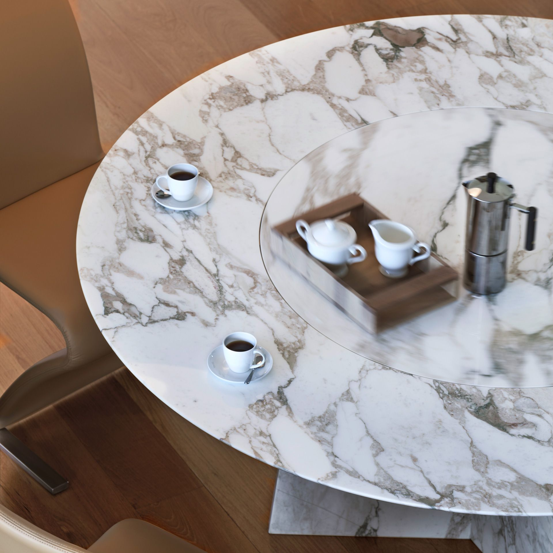 Tadao Round Dining Table By Draenert Is Available With Or Without