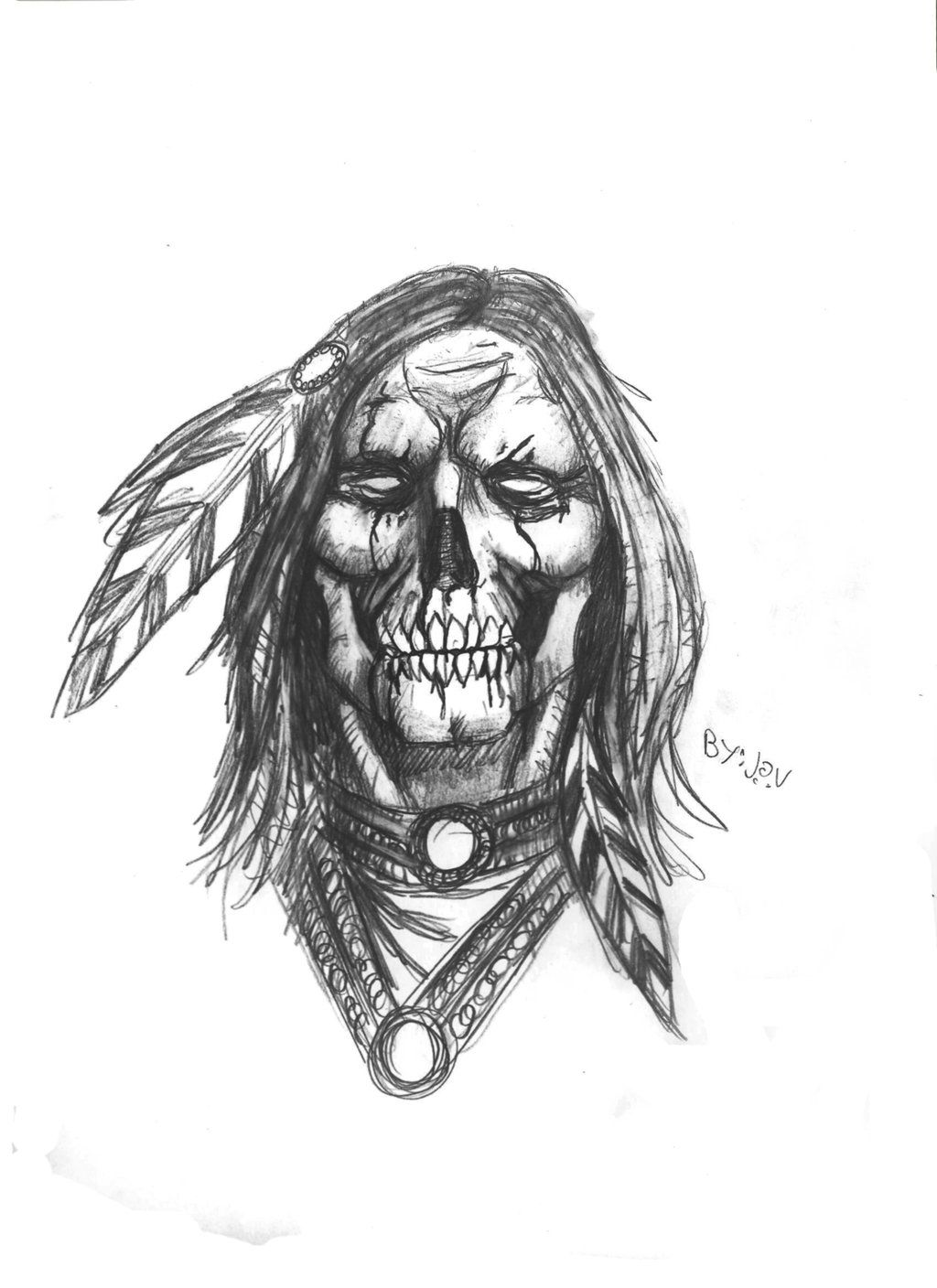 Native American Skull By Darkmatteria On Deviantart Indian Skull Tattoos Native American Tattoo Designs Native American Tattoos