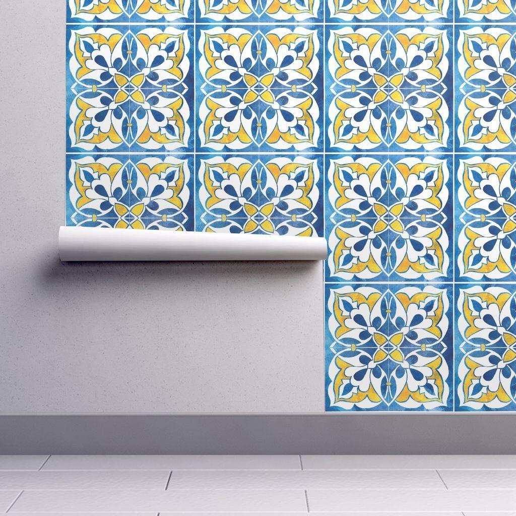 Spanishtile2 Self Adhesive Wallpaper Wallpaper Roll Peel And Stick Wallpaper