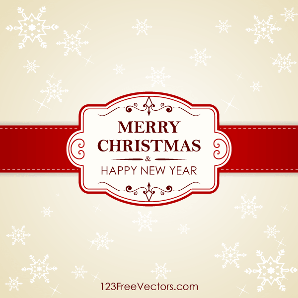 Decorated Christmas Card Background With Snowflakes And Red Banner