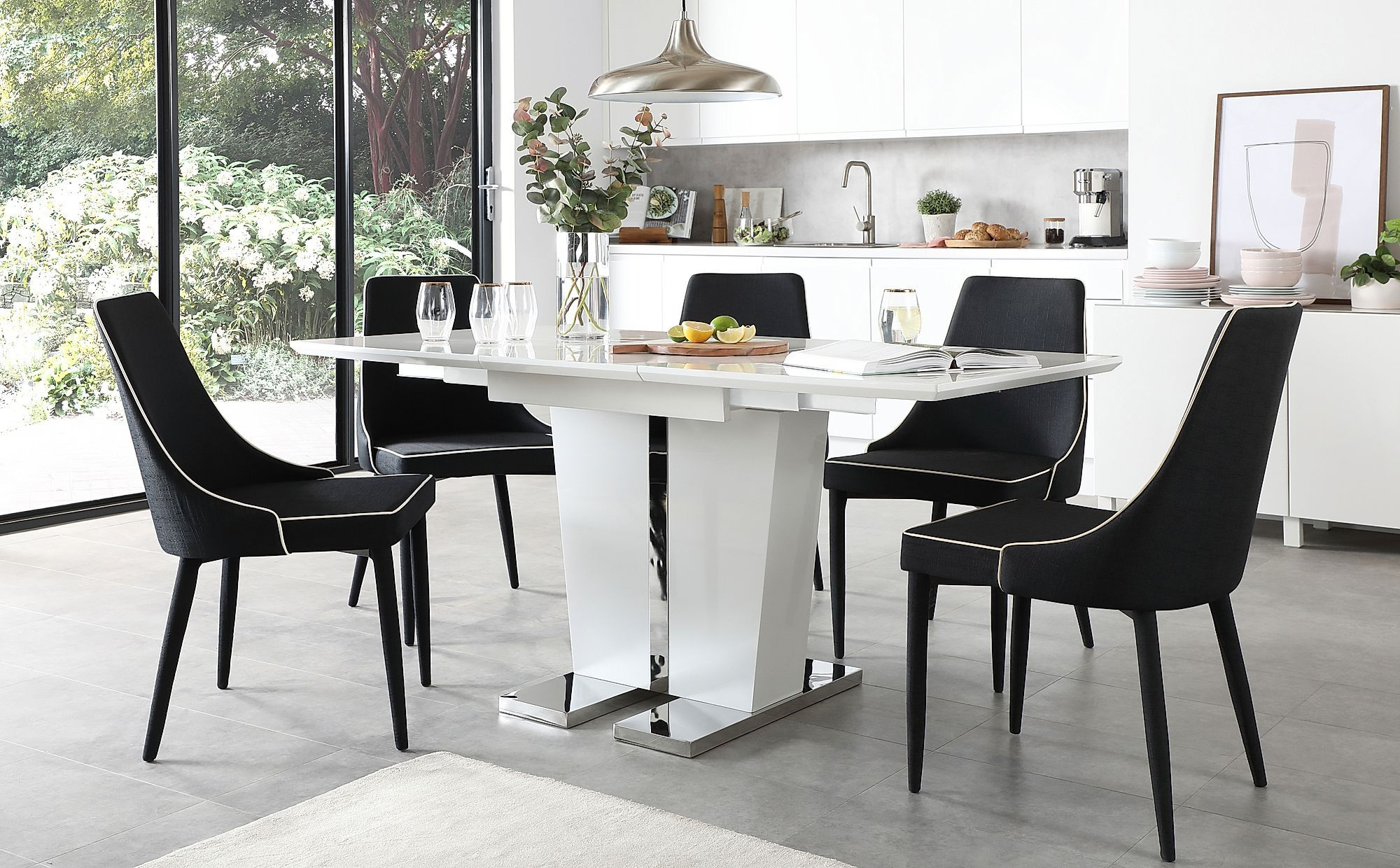 Vienna White High Gloss Extending Dining Table With 6 Modena Black