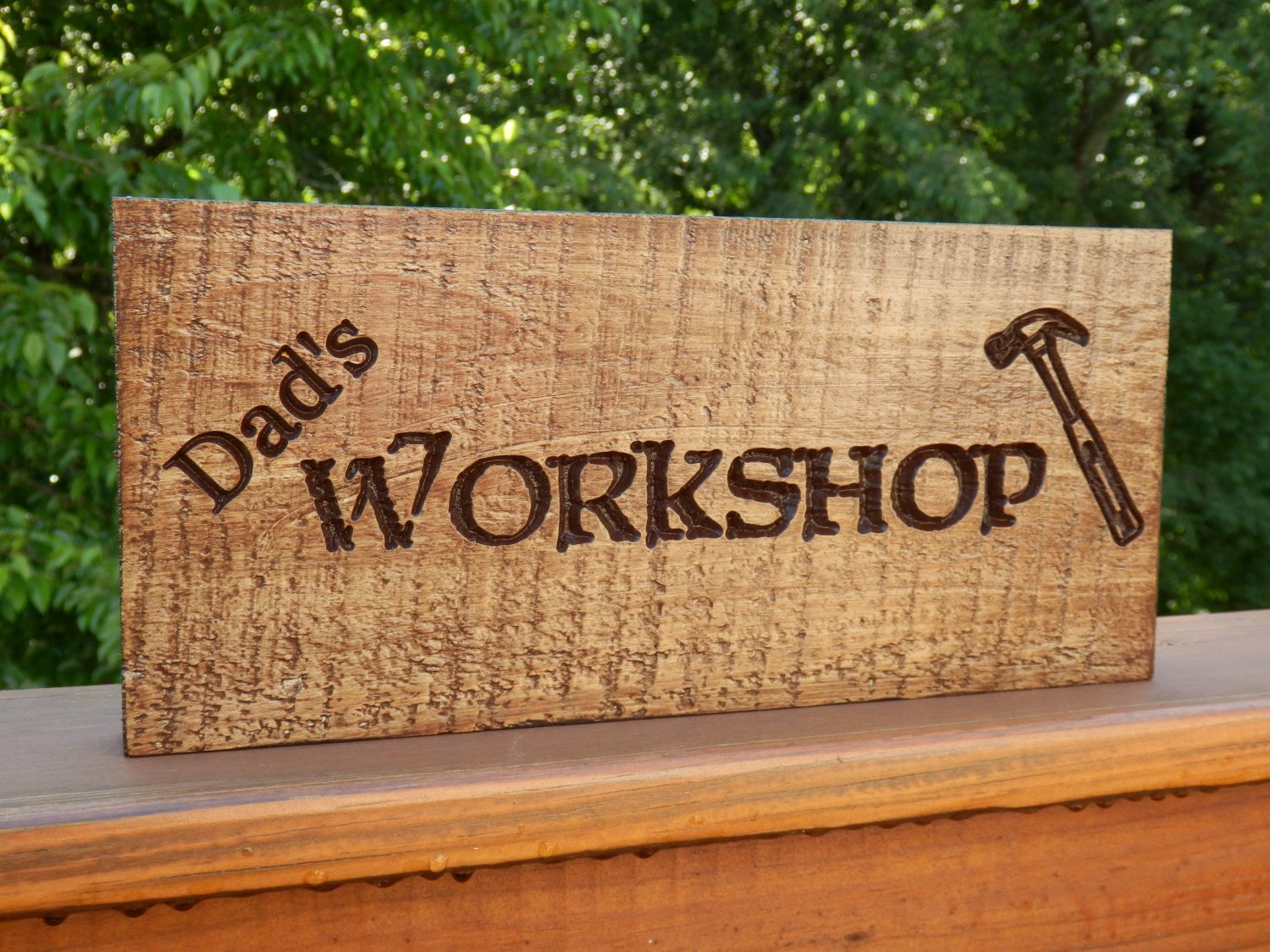 Country Signs Decor Adorable Dad's Workshop Sign With Hammer Rustic Sign Primitive Sign Design Inspiration