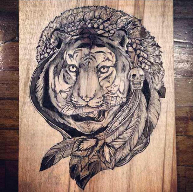Tiger Lily - ink on wood