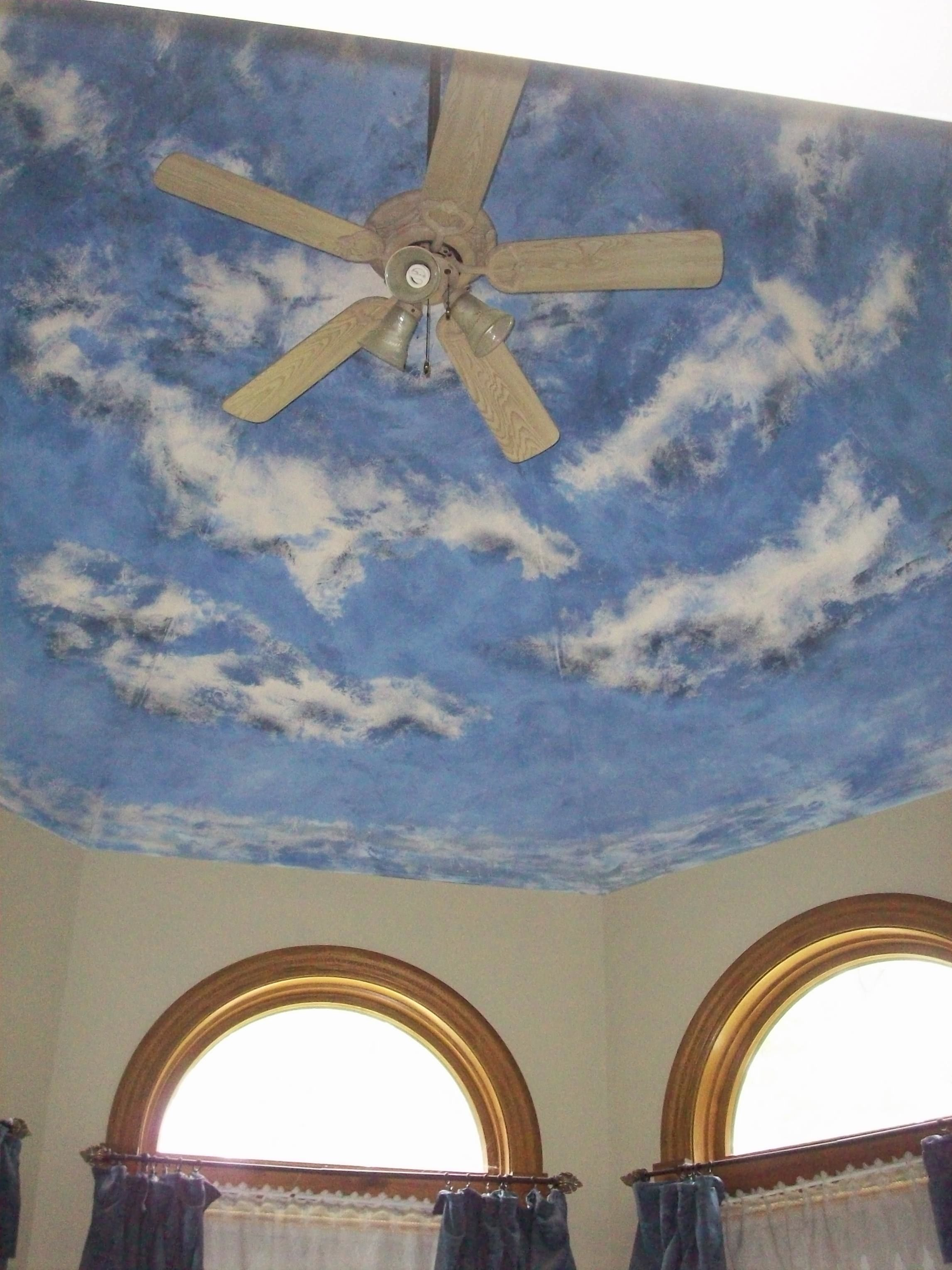 Painted ceiling turret. Bringing the outdoors in!
