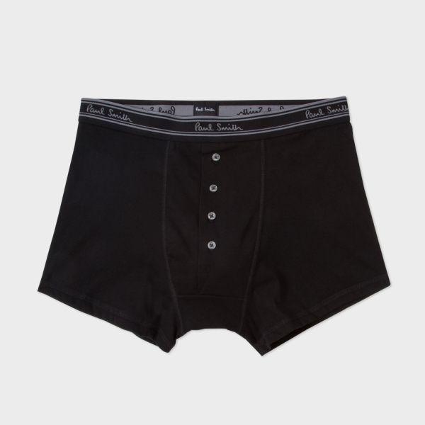 Men's Black Four Button Boxer Briefs