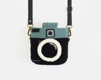 Items similar to Crochet Lomo Camera Purse/ Chocky Pink - Black Color on Etsy #camerapurse