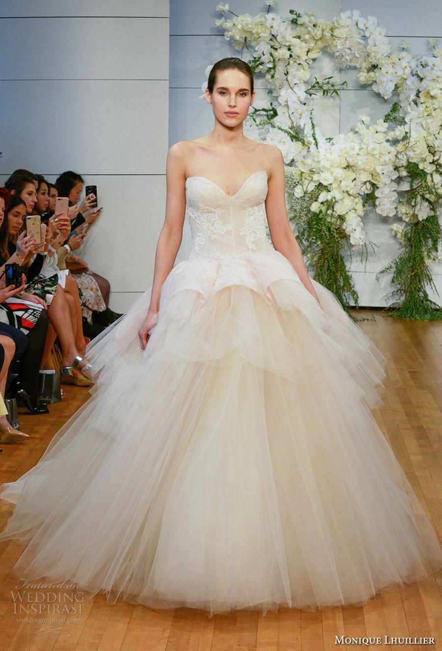 Champagne colored wedding dress  Monique Lhuillier Spring  Wedding Dresses u New York Bridal