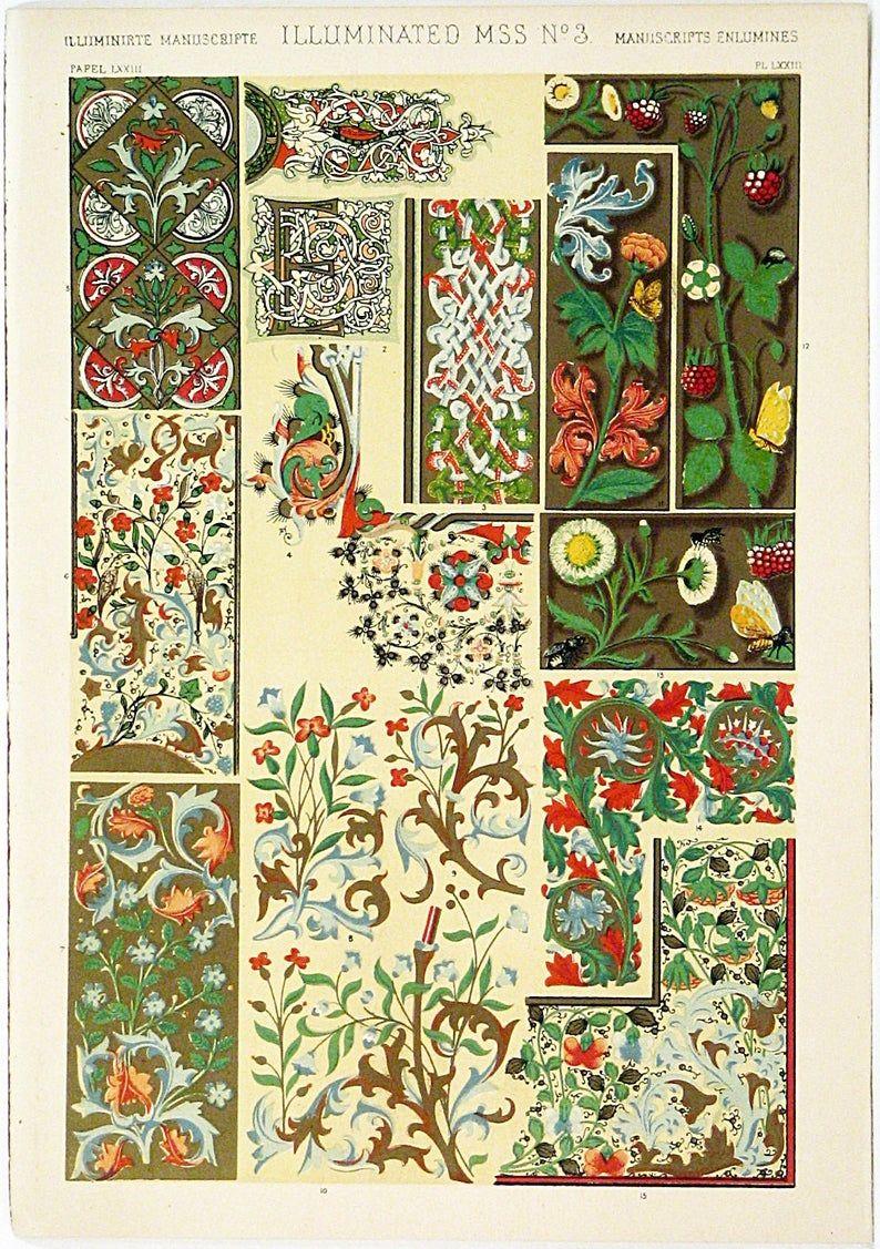 Original 1910 Art Nouveau Art Deco Medieval Ornamental Decorative Form Design No 3 Color Print Lithograph Wall Art London Antique Print 3 In 2020 Illuminated Manuscript Owen Jones Chromolithograph