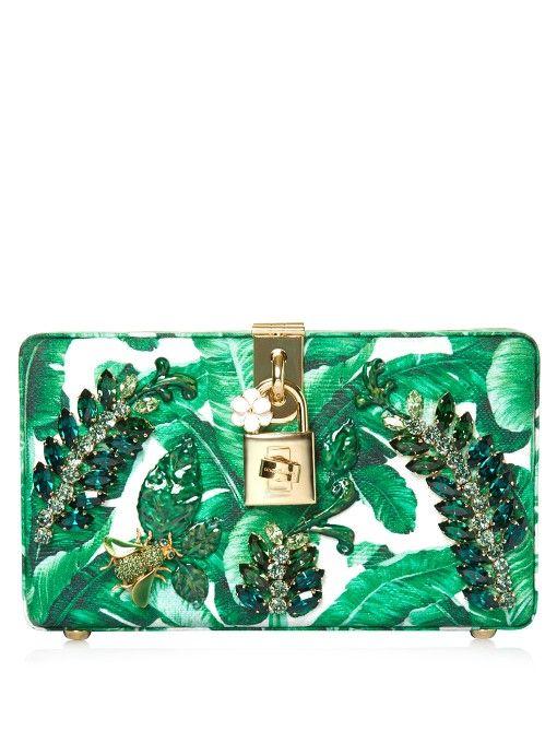 185a96a357a1 DOLCE   GABBANA Banana Leaf-Print Embellished Clutch.  dolcegabbana  bags   clutch  crystal  hand bags