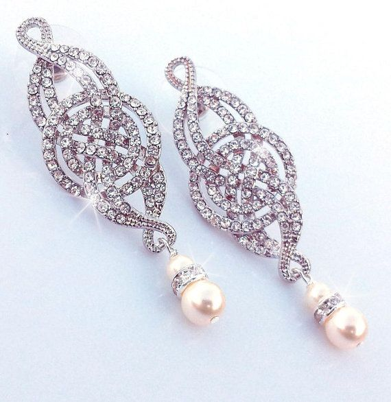 Wedding Rhinestone Earrings Bridal Earrings by OliniBridalJewelry, $55.00