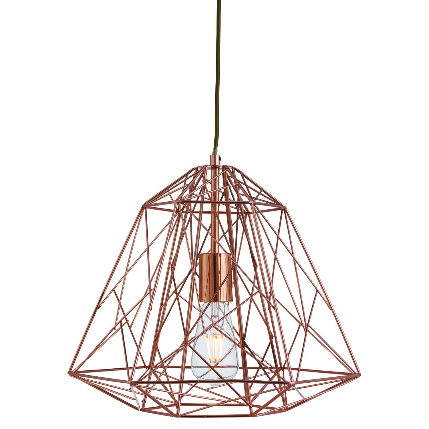 Searchlight Frame Light Ceiling Lamp Shade Shiny Copper L Cage Pendant Light Copper Pendant Lights Frame Pendant Light
