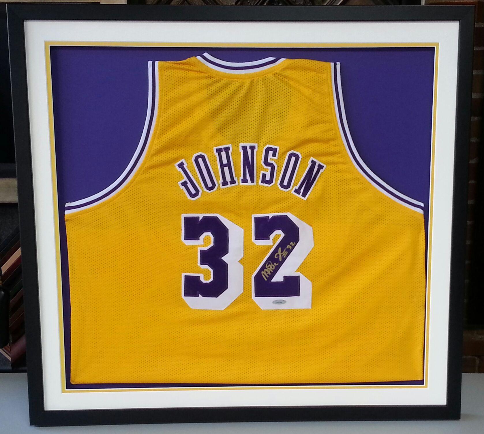 the latest 32c1c f3436 Custom framed Los Angeles Lakers Magic Johnson jersey ...