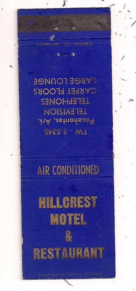 Hillcrest Motel Restaurant Pocahontas Ar Randolph County Matchcover 081512 Ebay