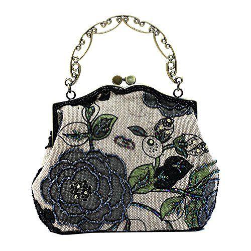 Ili Women S Vintage Evening Bag Luxury Printing Beaded Clutch Handbags On Black