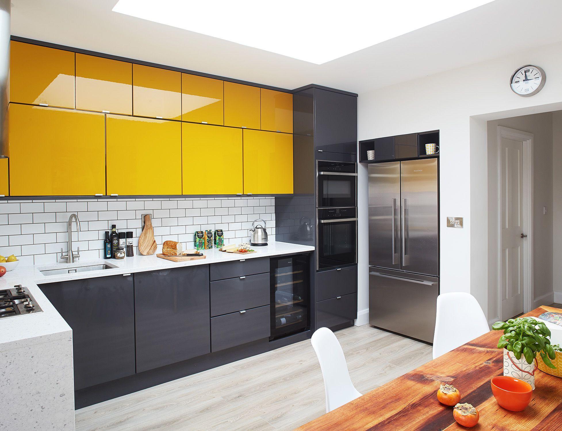cuisine moderne grise blanche jaune  Cuisine jaune, Cuisines