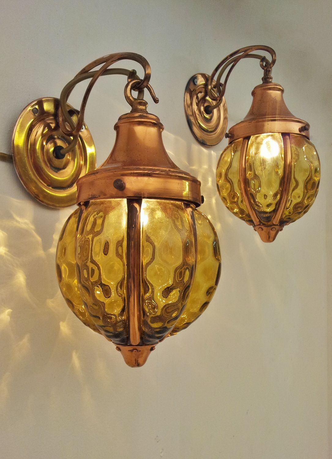 Antique Art Noveau/Arts & Crafts copper & glass wall lights, 1920`s ca, English @ www.roomscape.net
