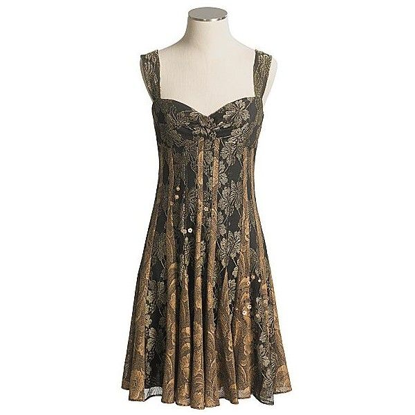 Muse Stretch Lace Metallic Dress with Straps (For Women) ❤ liked on Polyvore featuring dresses, strappy dress, brown cocktail dress, brown dresses, metallic cocktail dress and stretch lace dress
