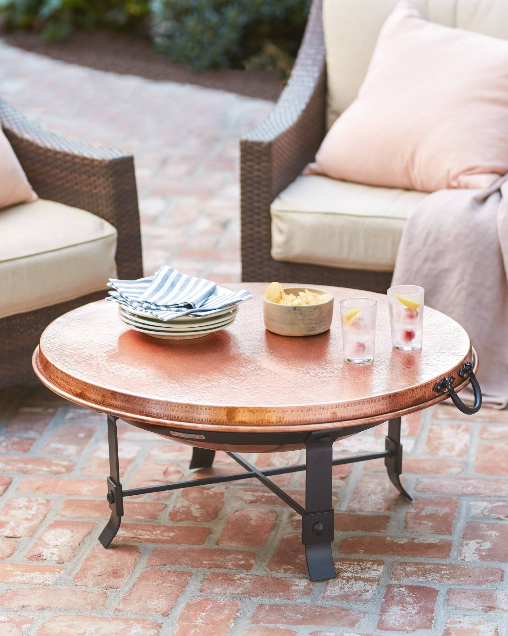 Outdoor Wrought Iron And Copper Fire Pit Set With Images
