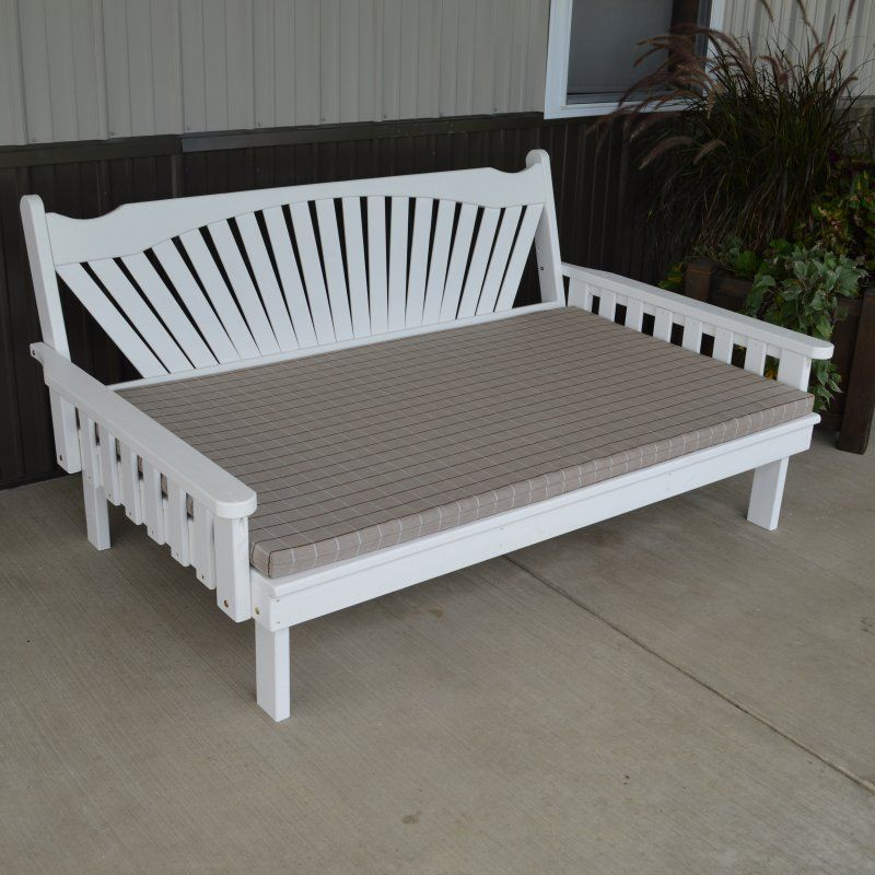 Outdoor A & L Furniture Yellow Pine Fanback Daybed Mushroom Stain ...