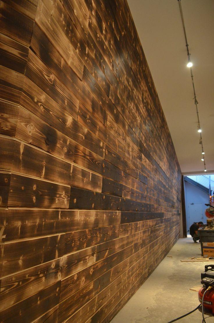 Shou Sugi Ban Feature Wall Black Rabbit Wood Floor Design