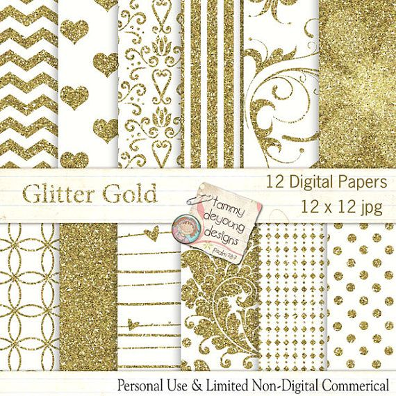 Gold Glitter digitale papier, Faux Glitter achtergronden met met harten, damast, geometrics, polka dots, chevron #goldglitterbackground