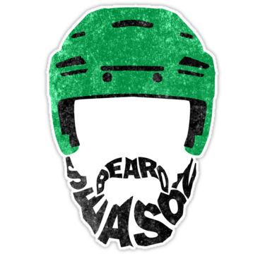 Hockey beard season green helmet stickers by gamefacegear check out these cool