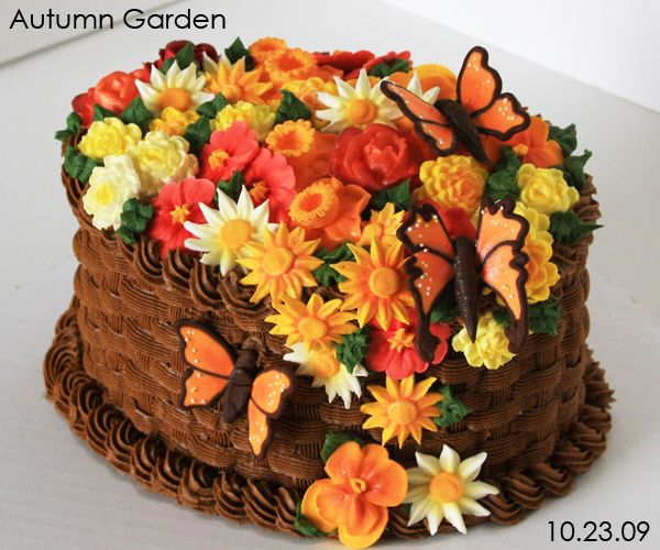 Autumn flower basket cake juli 39 s cake decorating for Autumn cake decoration