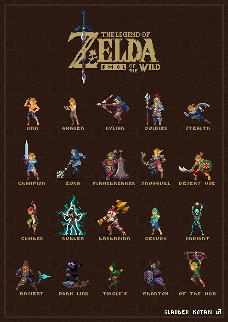 Legend of Zelda Breath of the Wild pixel art > Link's